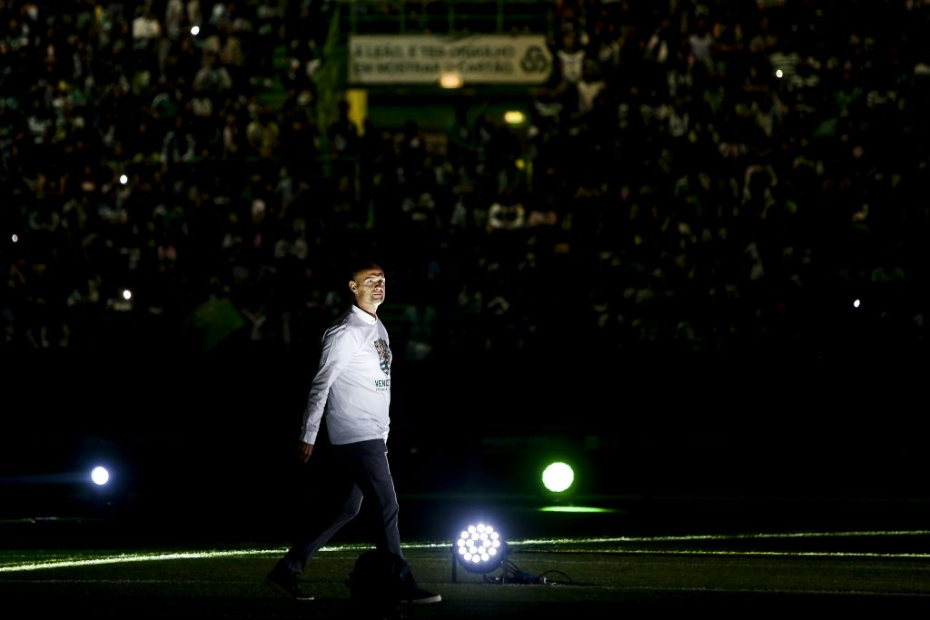 Sporting's head coach on stage during the celebration after winning the Portugal Cup final soccer match at Alvalade stadium in Lisbon, Portugal, 25 May 2019. NUNO FOX/LUSA