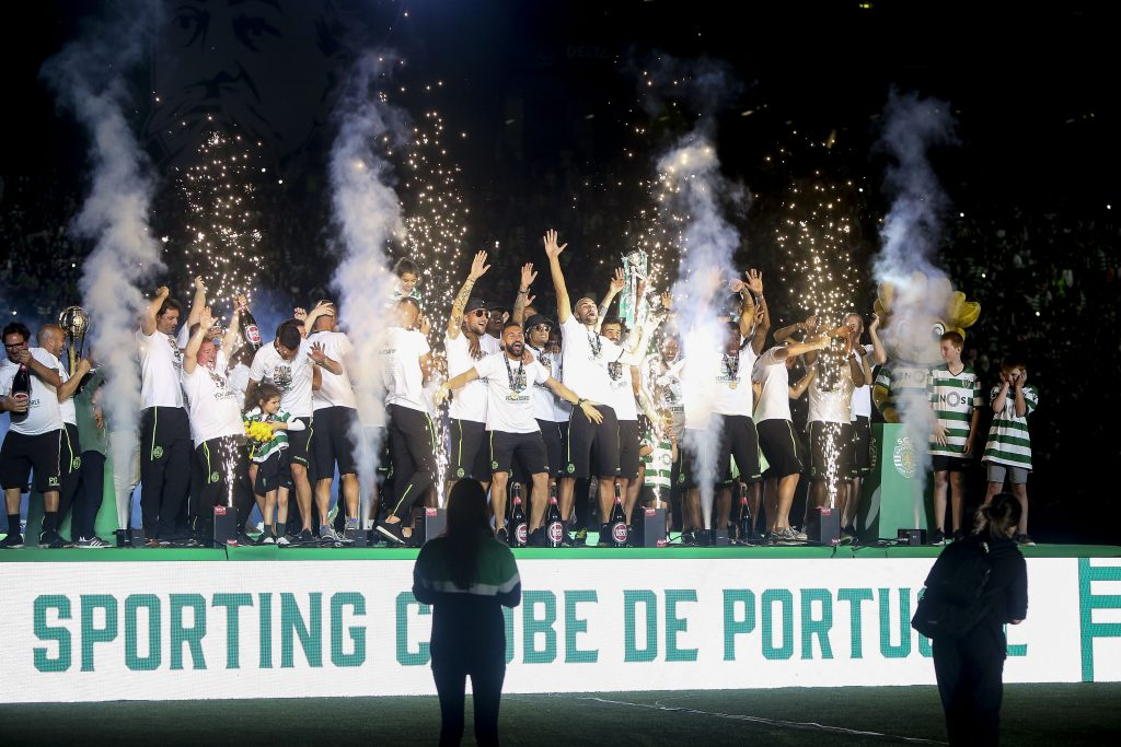 Sporting's players cleberate on stage after winning the Portugal Cup final soccer match at Alvalade stadium in Lisbon, Portugal, 25 May 2019. NUNO FOX/LUSA