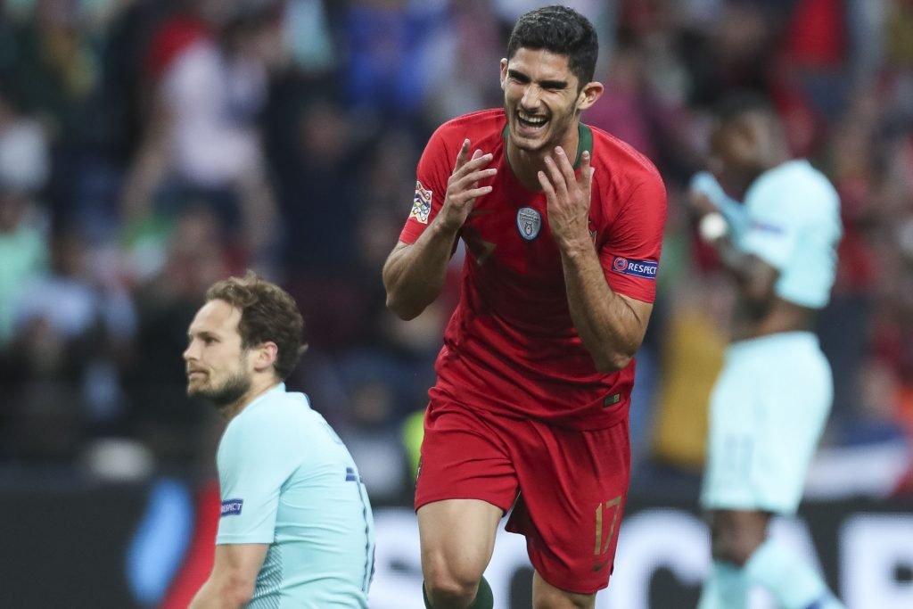 Portugal's Goncalo Guedes celebrates after scoring a goal against Netherlands during their UEFA Nations League final soccer match, at Dragao stadium, Porto, Portugal, 09 June 2019. PAULO NOVAIS/LUSA